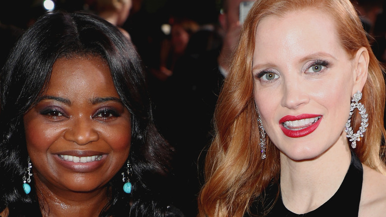 Octavia Spencer and Jessica Chastain smile together at the 2018 Golden Globes