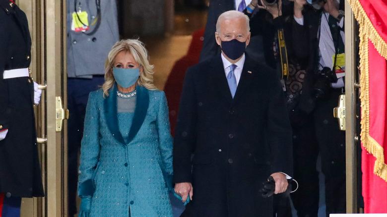Joe and Jill Biden at Inauguration, wearing masks