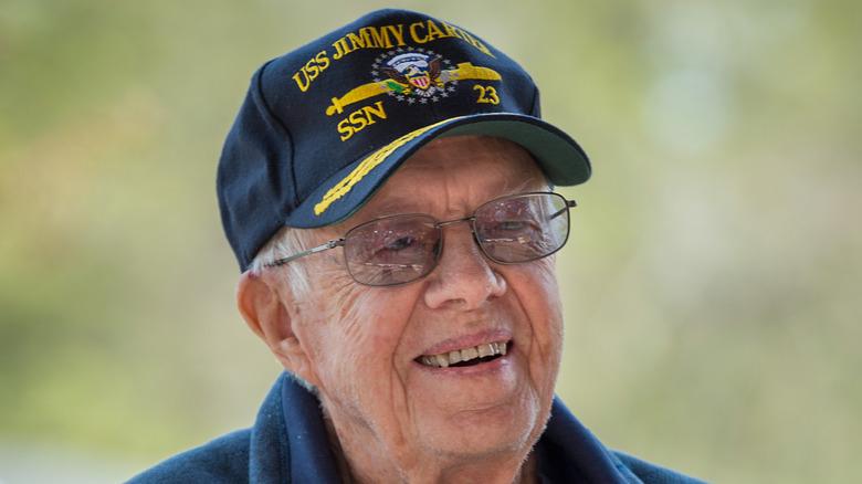 Jimmy Carter wearing navy hat