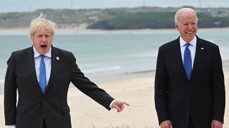 Joe Biden and Boris Johnson meet