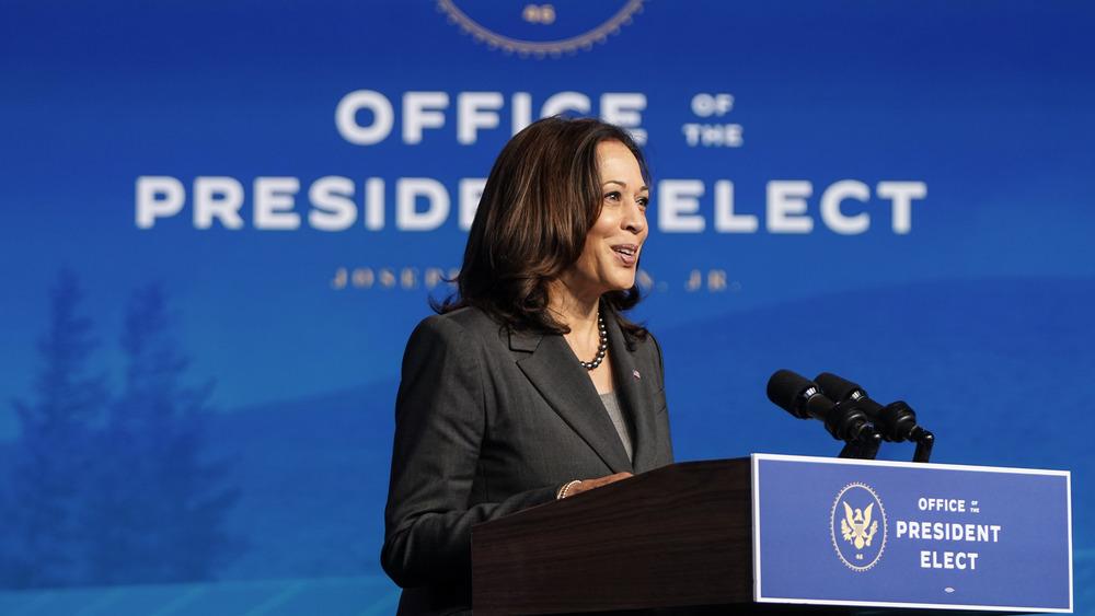 Kamala Harris speaks at a podium