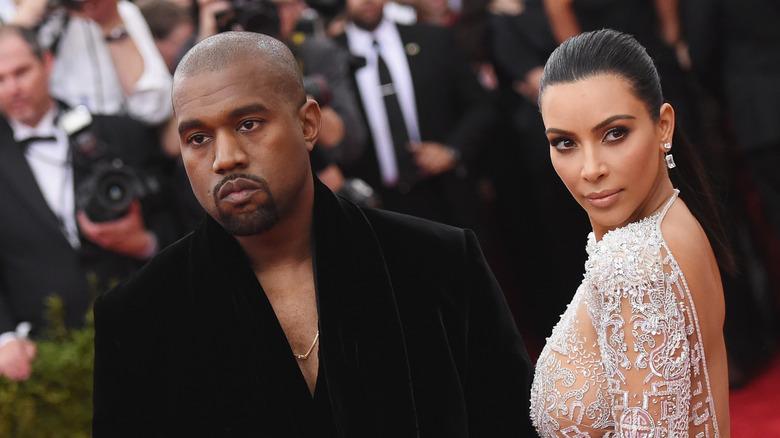 Kanye West and Kim Kardashian on thered carpet