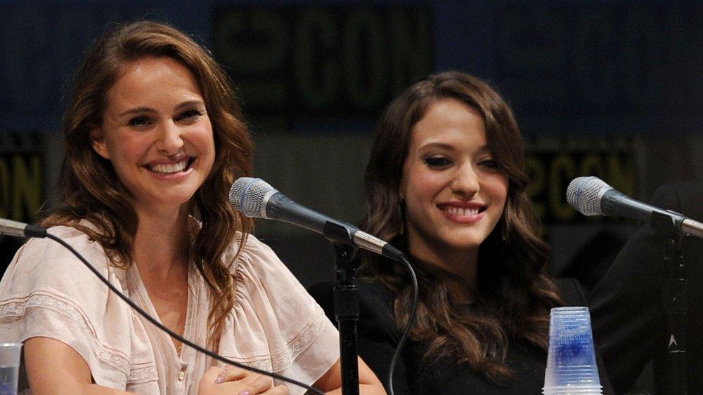 Natalie Portman and Kat Dennings During a Thor Panel