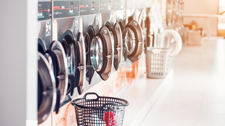 inside a laundromat