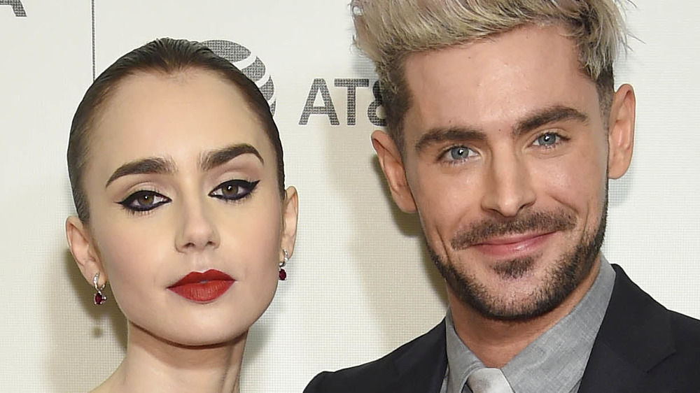 Lily Collins and Zac Efron pose on the red carpet together