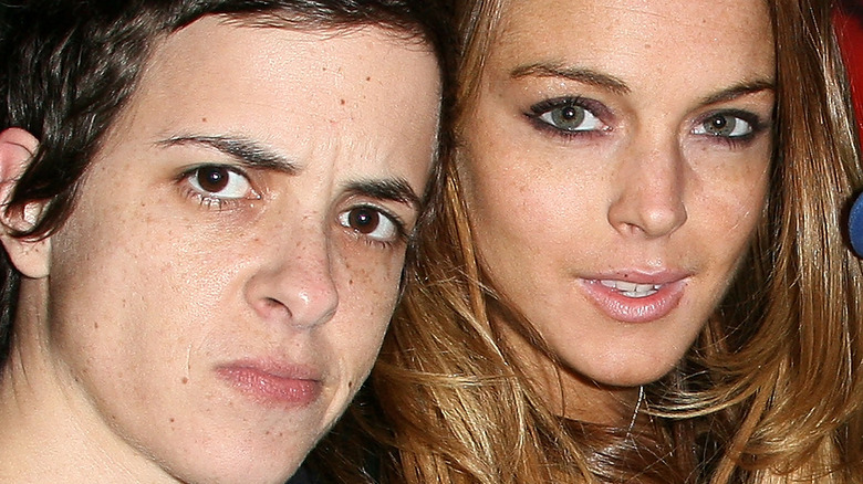 Lindsay Lohan and Samantha Ronson attend an event