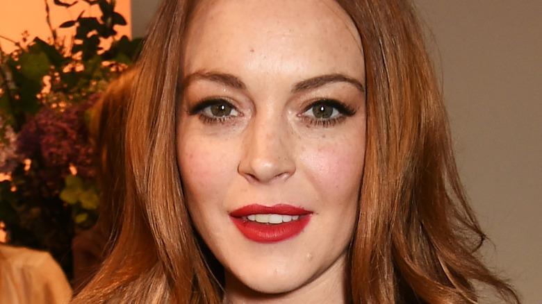 Lindsay Lohan wearing red lipstick