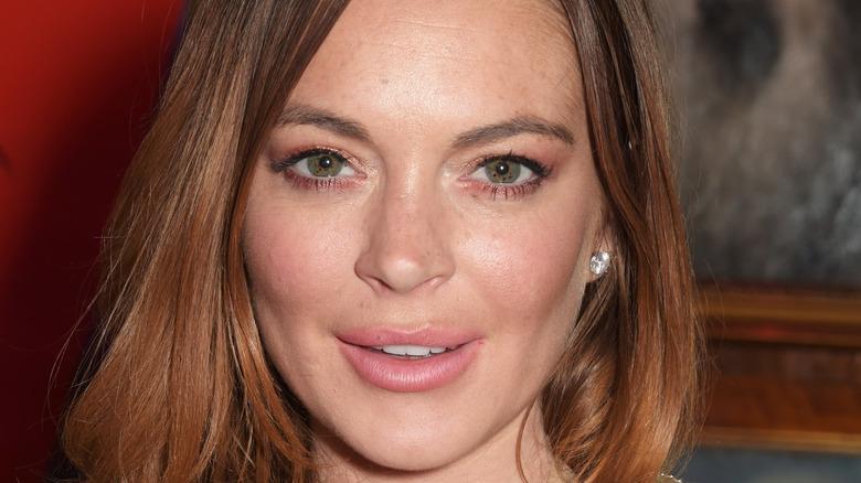 Lindsay Lohan posing at event