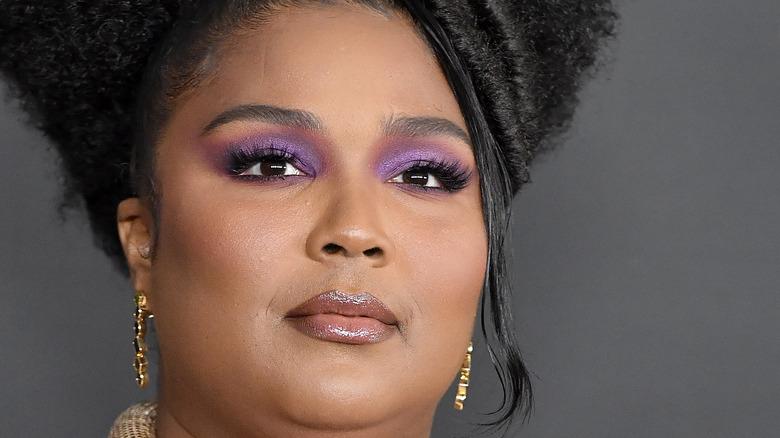 Lizzo wearing purple eyeshadow