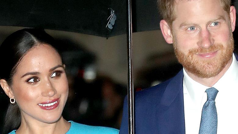 Meghan Markle and Prince Harry under umbrella