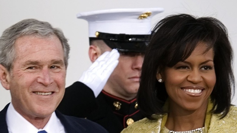 Former President George W. Bush with Michelle Obama