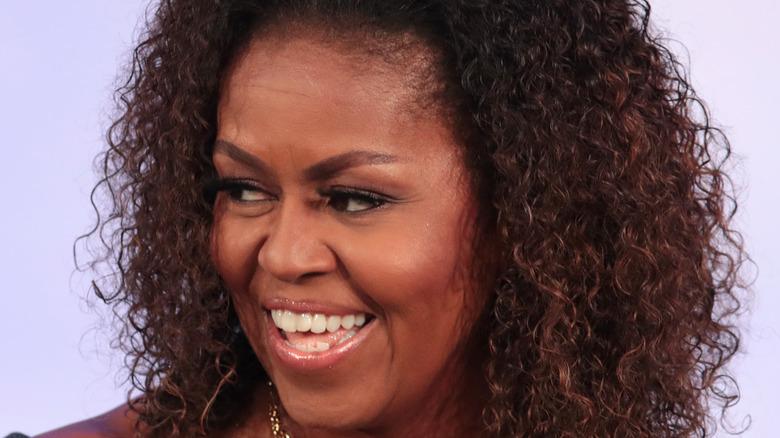 Michelle Obama speaking on stage