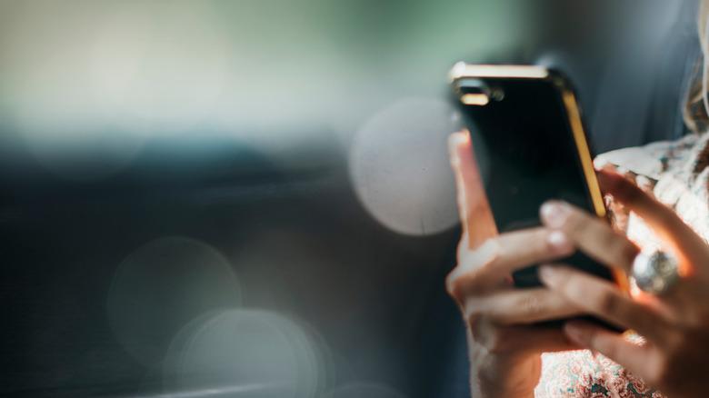 texting hand female