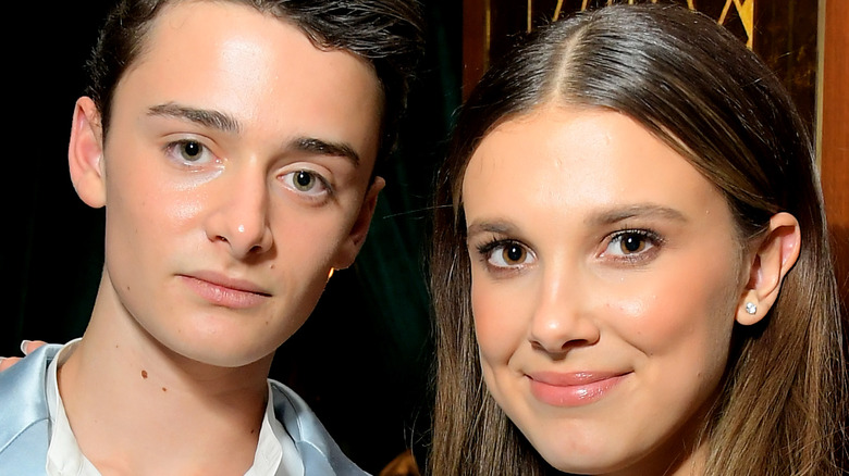 Millie Bobby Brown and Noah Schnapp pose together