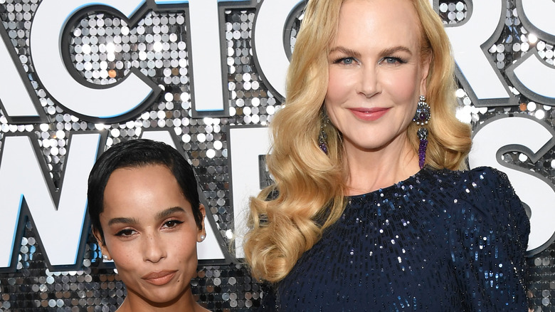 Nicole Kidman and Zoe Kravitz pose for a picture at an event