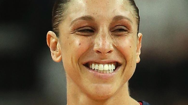 Diana Taurasi smiles on the basketball court