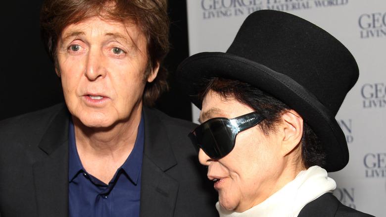 Paul McCartney and Yoko Ono attending an event