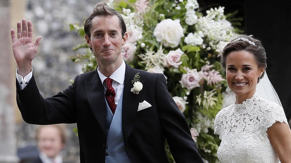 Pippa Middleton and James Matthews at their wedding, waving
