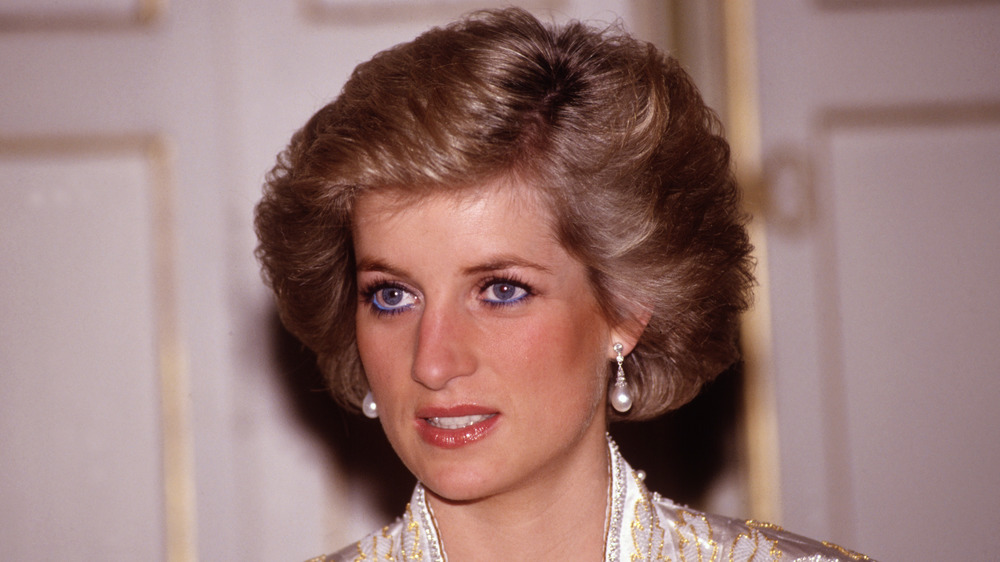 Princess Diana wearing blue eyeliner, close-up