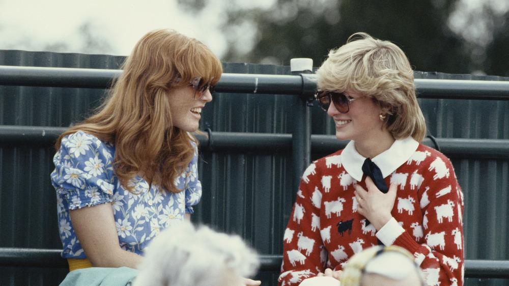 Sarah Ferguson and Princess Diana wearing colorful tops