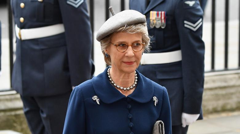 Duchess Birgitte in blue coat, wearing beret