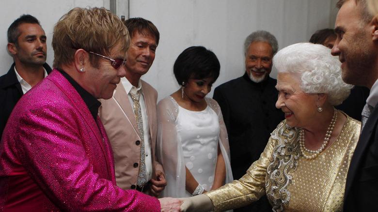 Queen Elizabeth and Elton John
