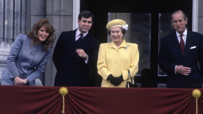 Sarah Ferguson, Prince Andrew, the Queen and Prince Philip at event