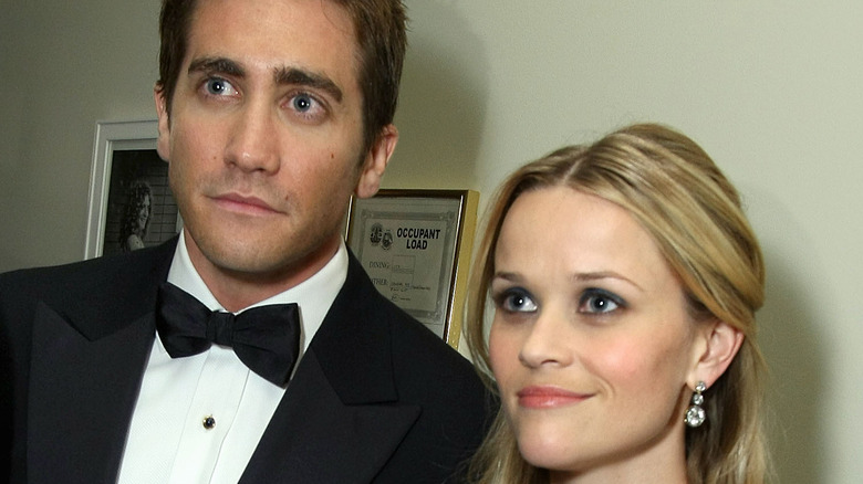 Jake Gyllenhaal looking serious with Reese Witherspoon