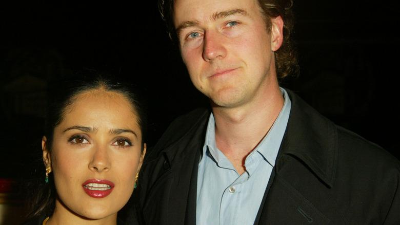 Salma Hayek and Edward Norton at event