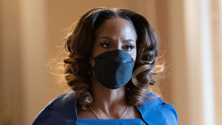 Stacey Plaskett wearing a mask