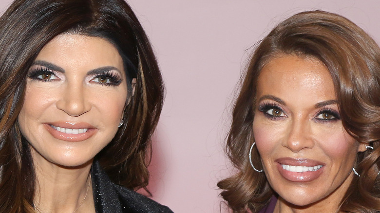 Teresa Giudice and Dolores Catania smile with their hair down and curly.