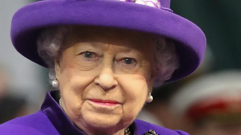 Queen Elizabeth in 2017 wearing royal purple