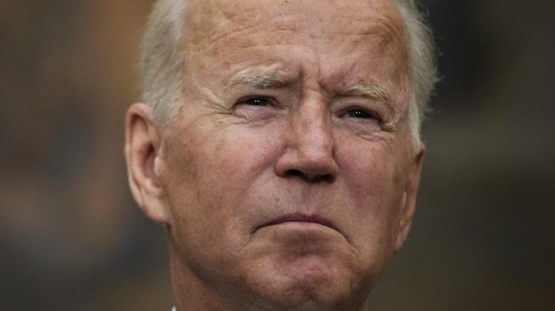 President Joe Biden frowning