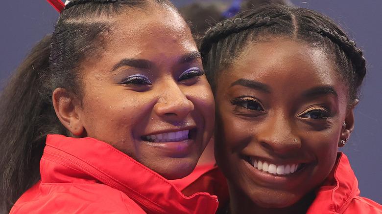 Simone Biles and Jordan Chiles close-up