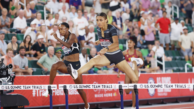 Sydney McLaughlin competing at the Olympic trials