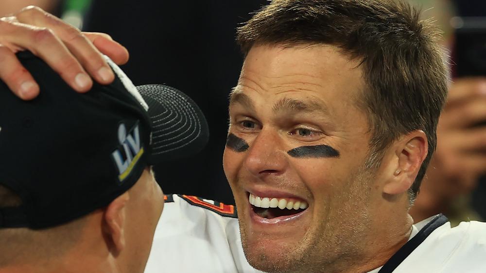 Tom Brady smiling at Super Bowl