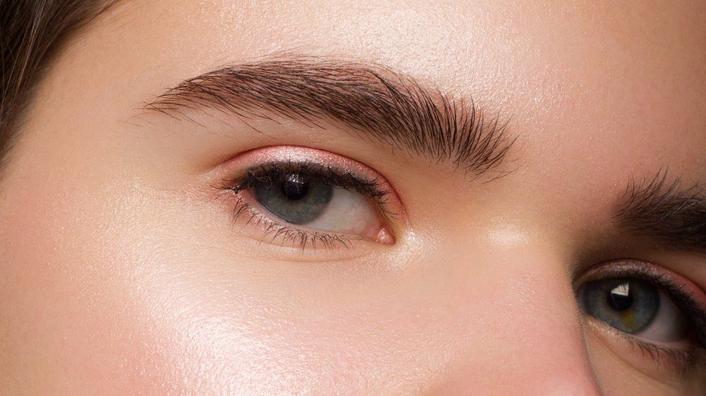 Close-up of thick eyebrows