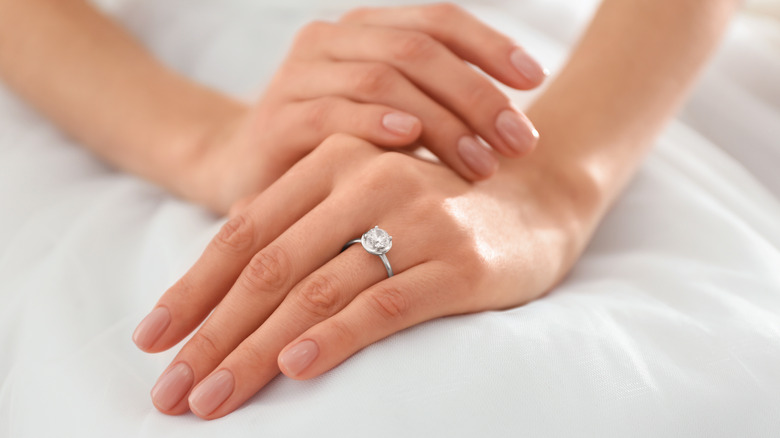 Woman and an engagement ring