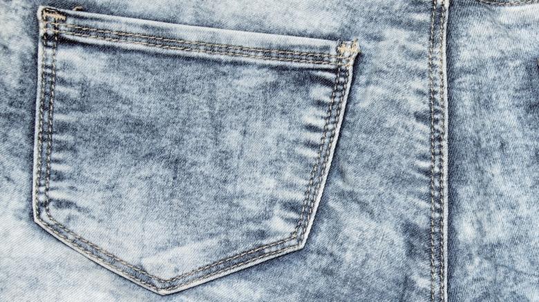 Back of acid-wash jeans
