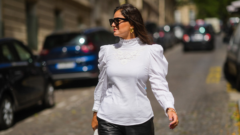 Woman sporting puffy sleeves