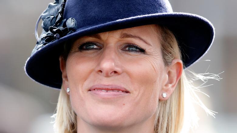 Zara Tindall in blue hat