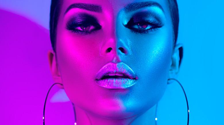 woman bold makeup contour
