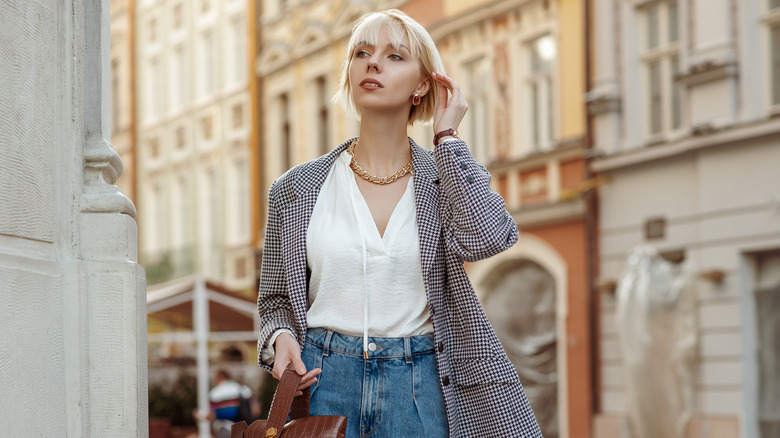 Woman wearing trendy neutral outfit