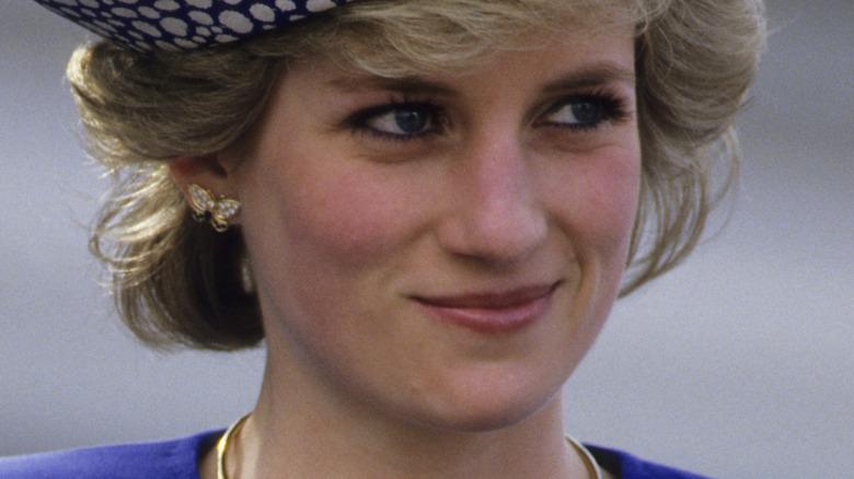 Princess Diana smiling in blue