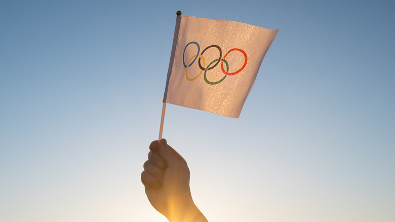 Someone holding a flag with Olympic rings