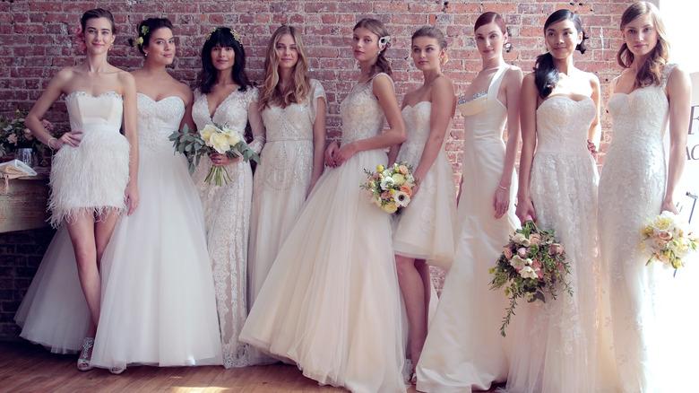 Various models in wedding dresses