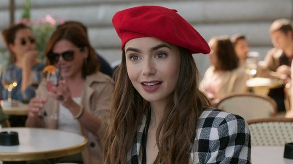 Lily Collins in Emily in Paris, wearing a red beret