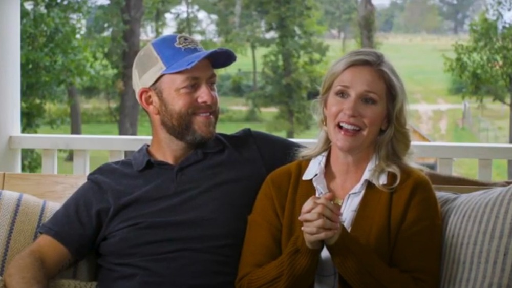 Dave and Jenny Marrs on a sofa swing on Fixer to Fabulous