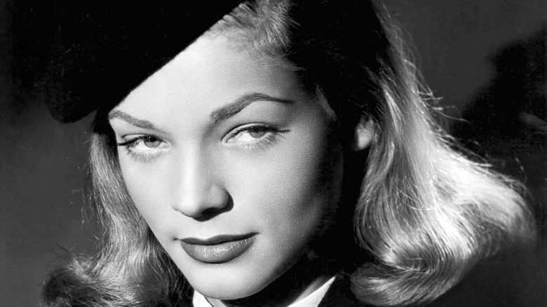 Lauren Bacall in black and white close-up