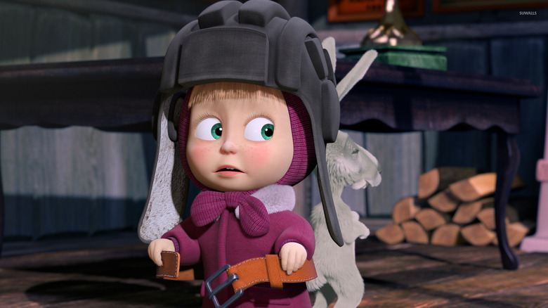 Masha in aviation helmet
